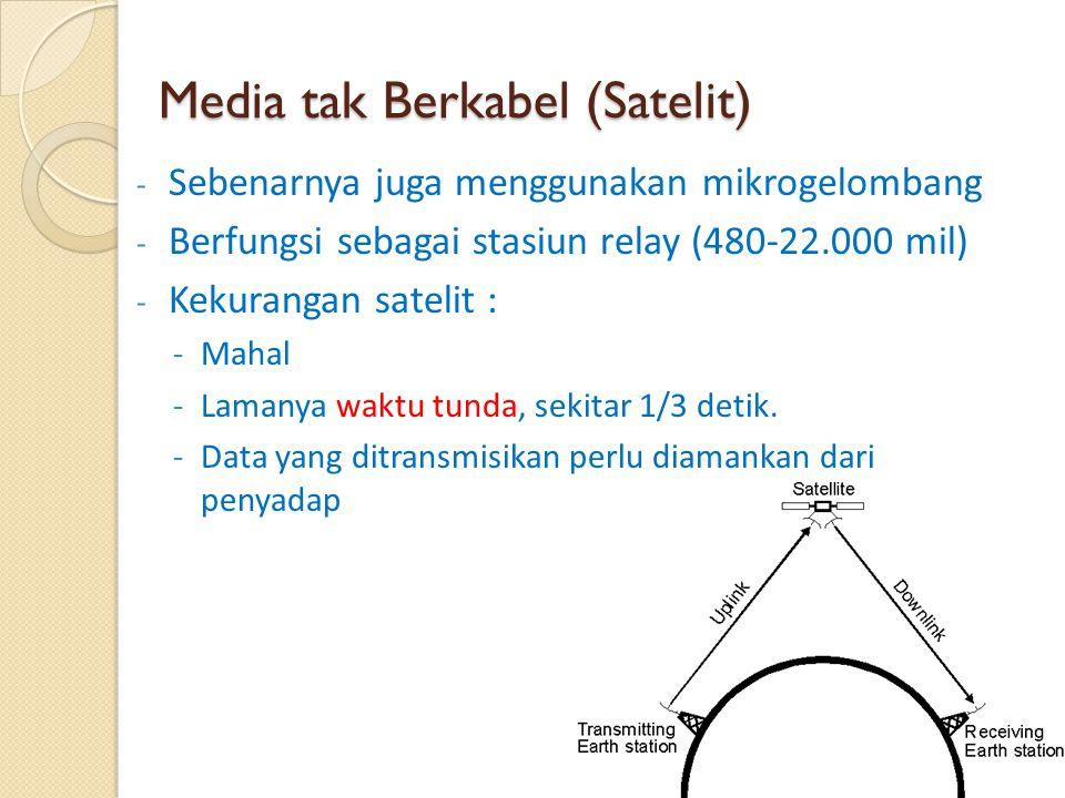 Media tak Berkabel (Satelit) - Sebenarnya juga menggunakan mikrogelombang - Berfungsi sebagai stasiun relay (480-22.000 mil) - Kekurangan satelit : -M