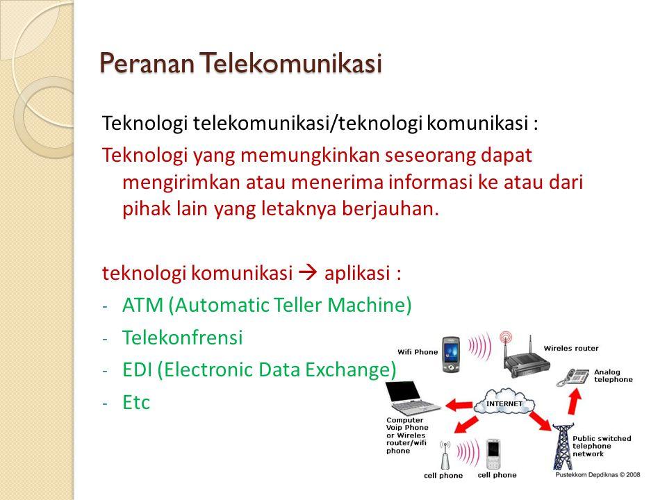 Peranan Telekomunikasi Teknologi telekomunikasi/teknologi komunikasi : Teknologi yang memungkinkan seseorang dapat mengirimkan atau menerima informasi