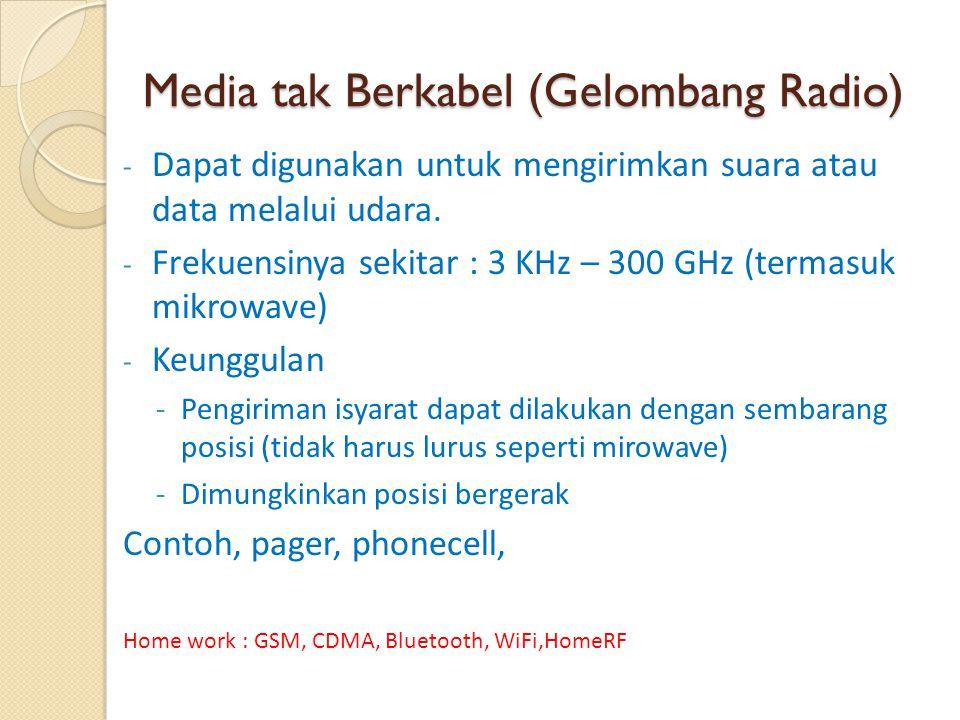 Media tak Berkabel (Gelombang Radio) - Dapat digunakan untuk mengirimkan suara atau data melalui udara. - Frekuensinya sekitar : 3 KHz – 300 GHz (term