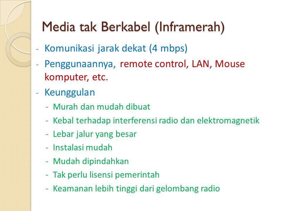 Media tak Berkabel (Inframerah) - Komunikasi jarak dekat (4 mbps) - Penggunaannya, remote control, LAN, Mouse komputer, etc. - Keunggulan -Murah dan m