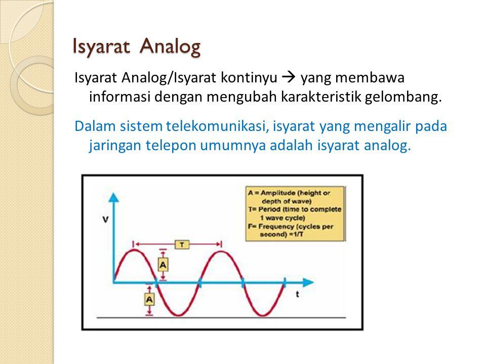 Isyarat Analog Isyarat Analog/Isyarat kontinyu  yang membawa informasi dengan mengubah karakteristik gelombang. Dalam sistem telekomunikasi, isyarat