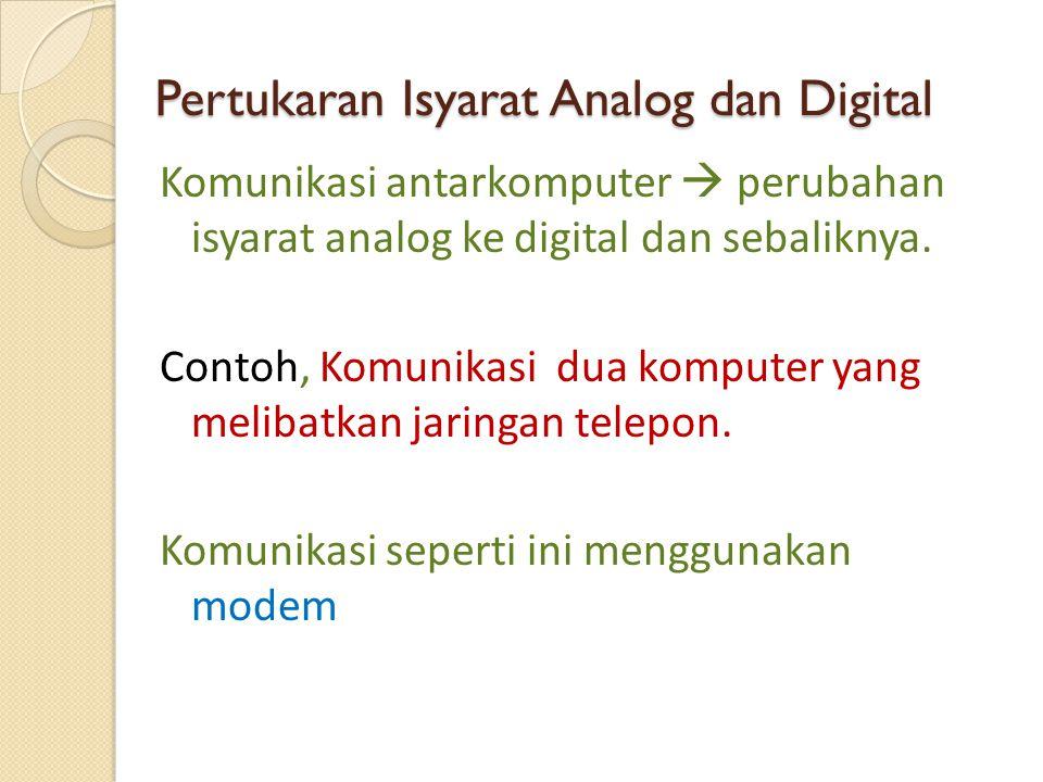 Pertukaran Isyarat Analog dan Digital Komunikasi antarkomputer  perubahan isyarat analog ke digital dan sebaliknya. Contoh, Komunikasi dua komputer y