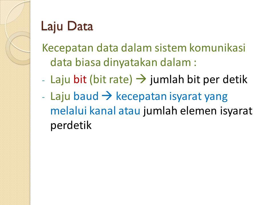 Laju Data Kecepatan data dalam sistem komunikasi data biasa dinyatakan dalam : - Laju bit (bit rate)  jumlah bit per detik - Laju baud  kecepatan is