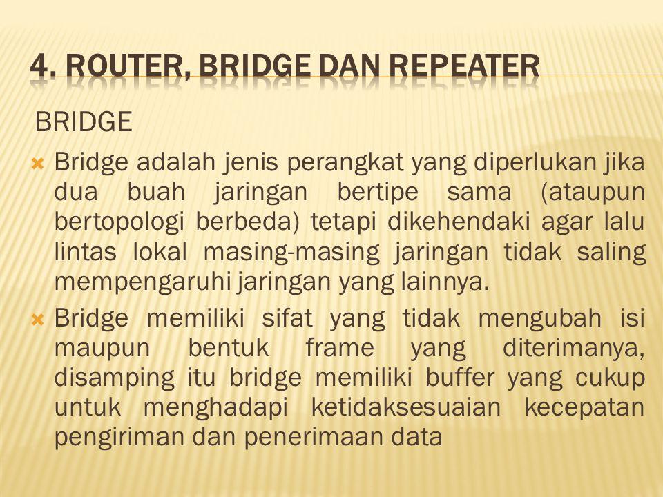  Bridge adalah jenis perangkat yang diperlukan jika dua buah jaringan bertipe sama (ataupun bertopologi berbeda) tetapi dikehendaki agar lalu lintas