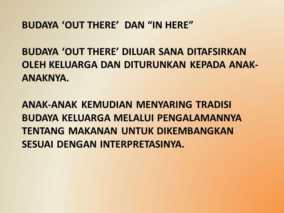 "BUDAYA 'OUT THERE' DAN ""IN HERE"" BUDAYA 'OUT THERE' DILUAR SANA DITAFSIRKAN OLEH KELUARGA DAN DITURUNKAN KEPADA ANAK- ANAKNYA. ANAK-ANAK KEMUDIAN MENY"