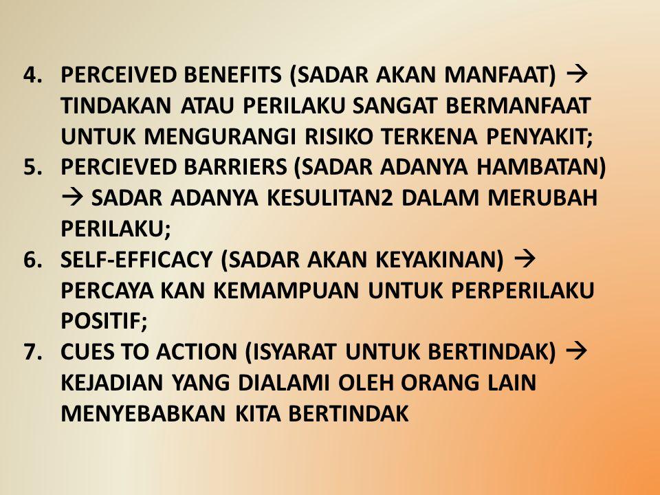 4.PERCEIVED BENEFITS (SADAR AKAN MANFAAT)  TINDAKAN ATAU PERILAKU SANGAT BERMANFAAT UNTUK MENGURANGI RISIKO TERKENA PENYAKIT; 5.PERCIEVED BARRIERS (S