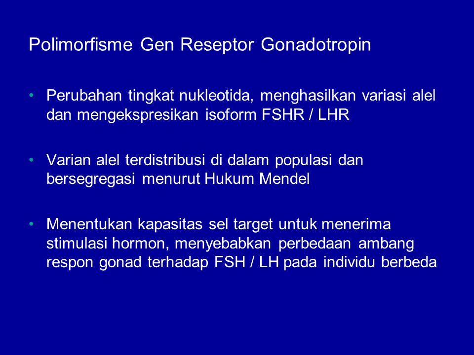 Polimorfisme Gen Reseptor Gonadotropin Perubahan tingkat nukleotida, menghasilkan variasi alel dan mengekspresikan isoform FSHR / LHR Varian alel terd
