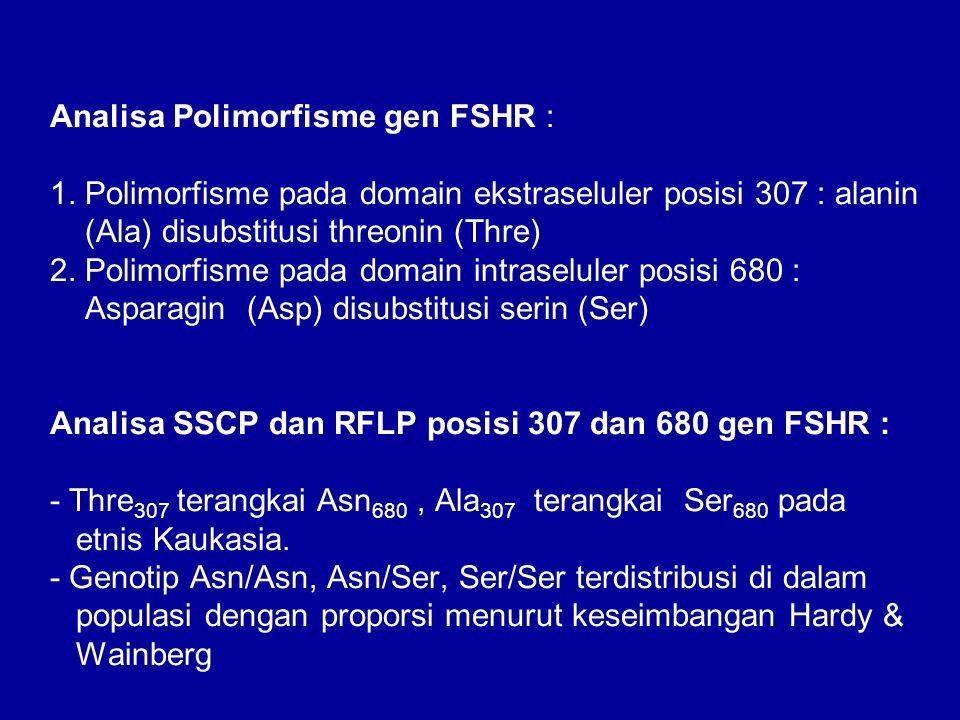 Analisa Polimorfisme gen FSHR : 1. Polimorfisme pada domain ekstraseluler posisi 307 : alanin (Ala) disubstitusi threonin (Thre) 2. Polimorfisme pada