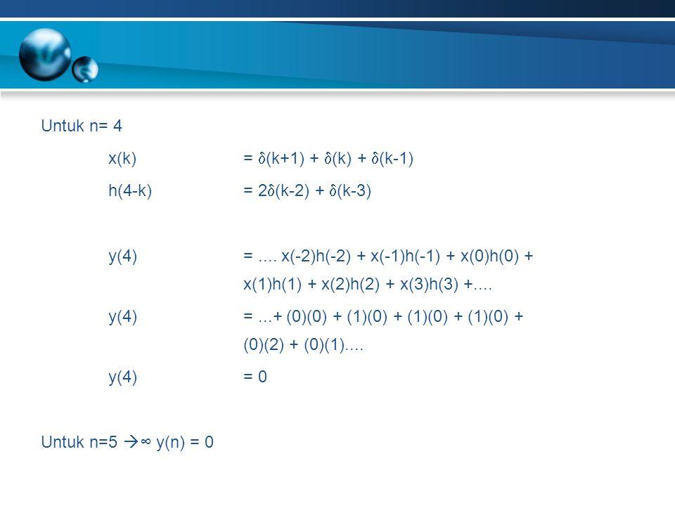 Untuk n= 4 x(k)=  (k+1) +  (k) +  (k-1) h(4-k)= 2  (k-2) +  (k-3) y(4)=.... x(-2)h(-2) + x(-1)h(-1) + x(0)h(0) + x(1)h(1) + x(2)h(2) + x(3)h(3) +