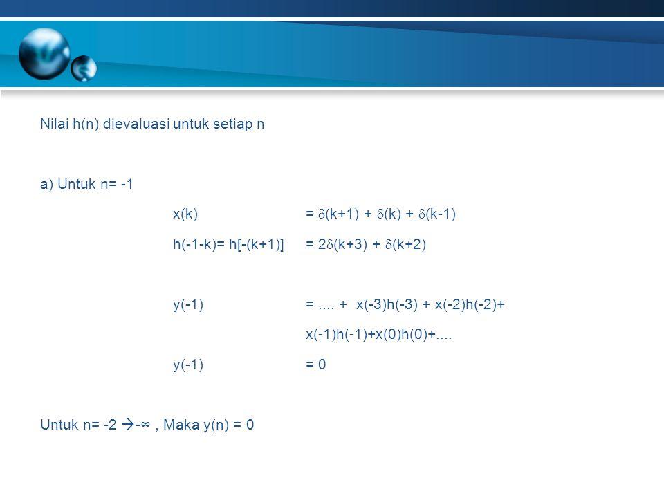 Nilai h(n) dievaluasi untuk setiap n a) Untuk n= -1 x(k) =  (k+1) +  (k) +  (k-1) h(-1-k)= h[-(k+1)]= 2  (k+3) +  (k+2) y(-1) =.... + x(-3)h(-3)