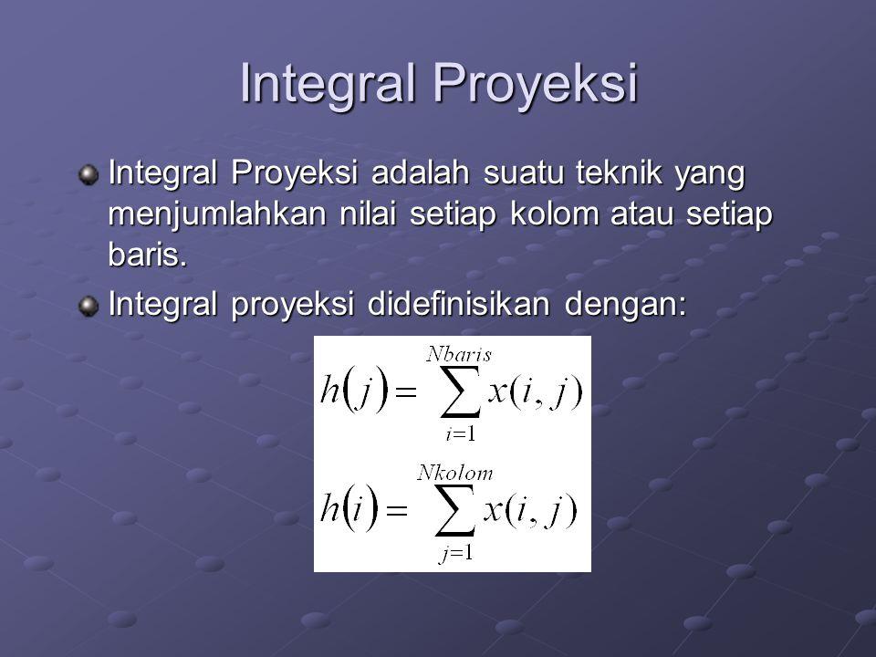 Integral Proyeksi Integral Proyeksi adalah suatu teknik yang menjumlahkan nilai setiap kolom atau setiap baris.