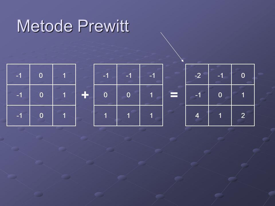Metode Prewitt 0 1 1 1 0 0 0 1 1 1 0 1 -2 0 4 1 2 0 1 + =