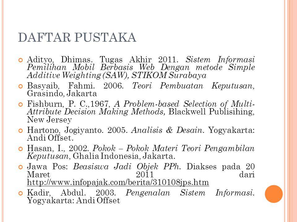 DAFTAR PUSTAKA Adityo, Dhimas. Tugas Akhir 2011. Sistem Informasi Pemilihan Mobil Berbasis Web Dengan metode Simple Additive Weighting (SAW), STIKOM S