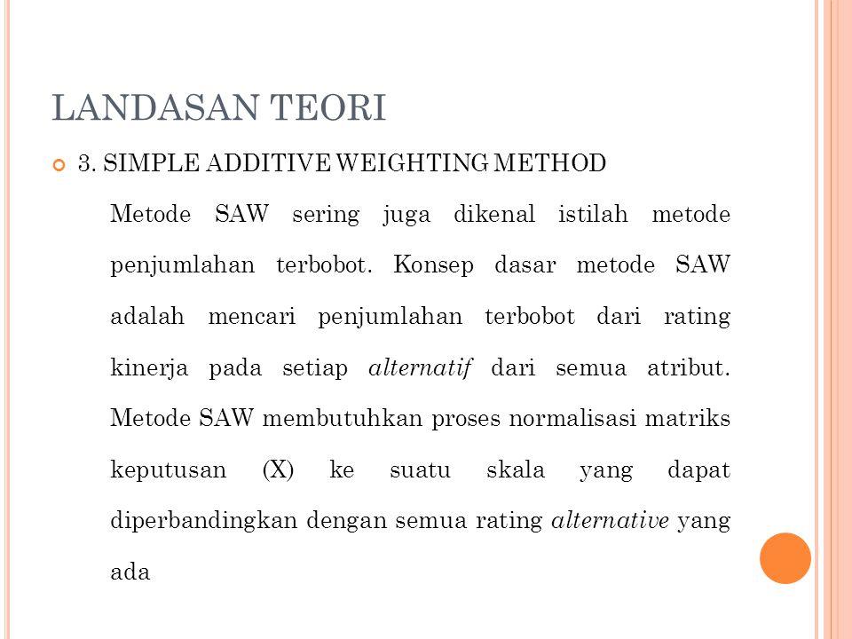 LANDASAN TEORI 3. SIMPLE ADDITIVE WEIGHTING METHOD Metode SAW sering juga dikenal istilah metode penjumlahan terbobot. Konsep dasar metode SAW adalah