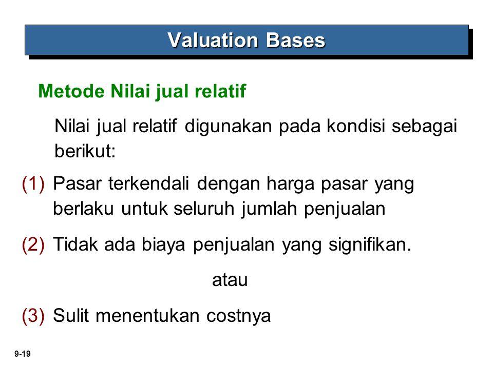 9-19 (1) (1)Pasar terkendali dengan harga pasar yang berlaku untuk seluruh jumlah penjualan (2) (2)Tidak ada biaya penjualan yang signifikan. atau (3)