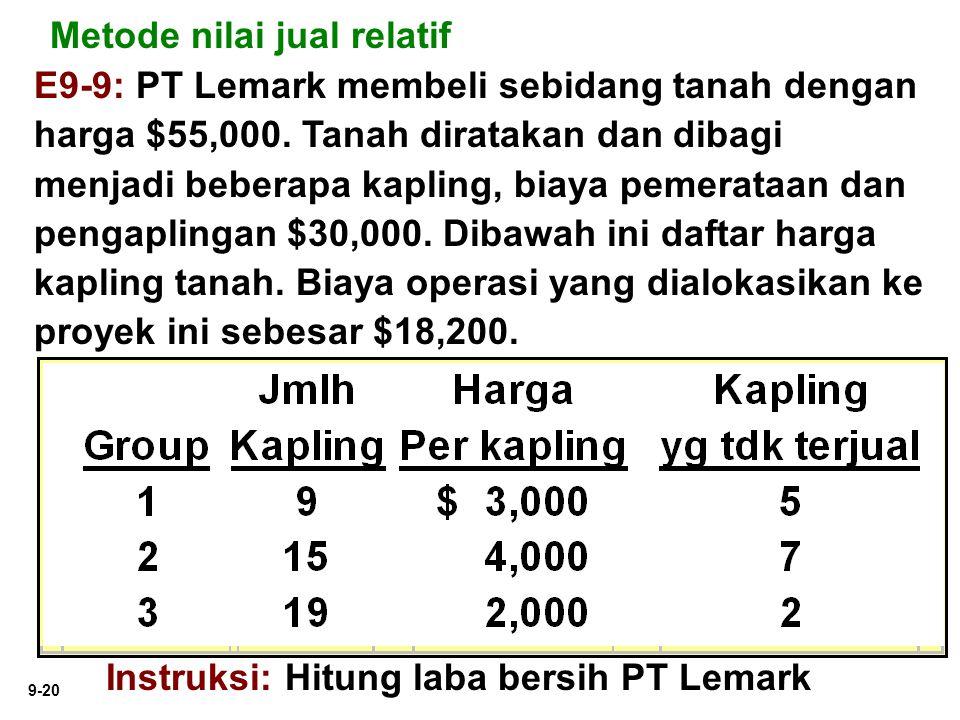 9-20 Metode nilai jual relatif E9-9: PT Lemark membeli sebidang tanah dengan harga $55,000. Tanah diratakan dan dibagi menjadi beberapa kapling, biaya