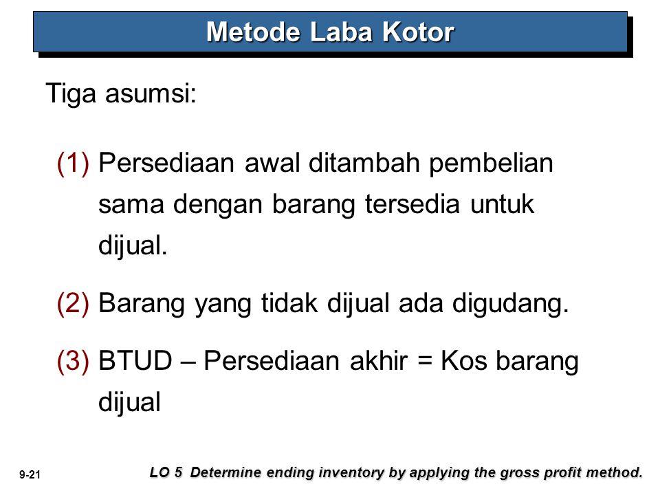 9-21 Tiga asumsi: Metode Laba Kotor LO 5 Determine ending inventory by applying the gross profit method. (1) (1)Persediaan awal ditambah pembelian sam