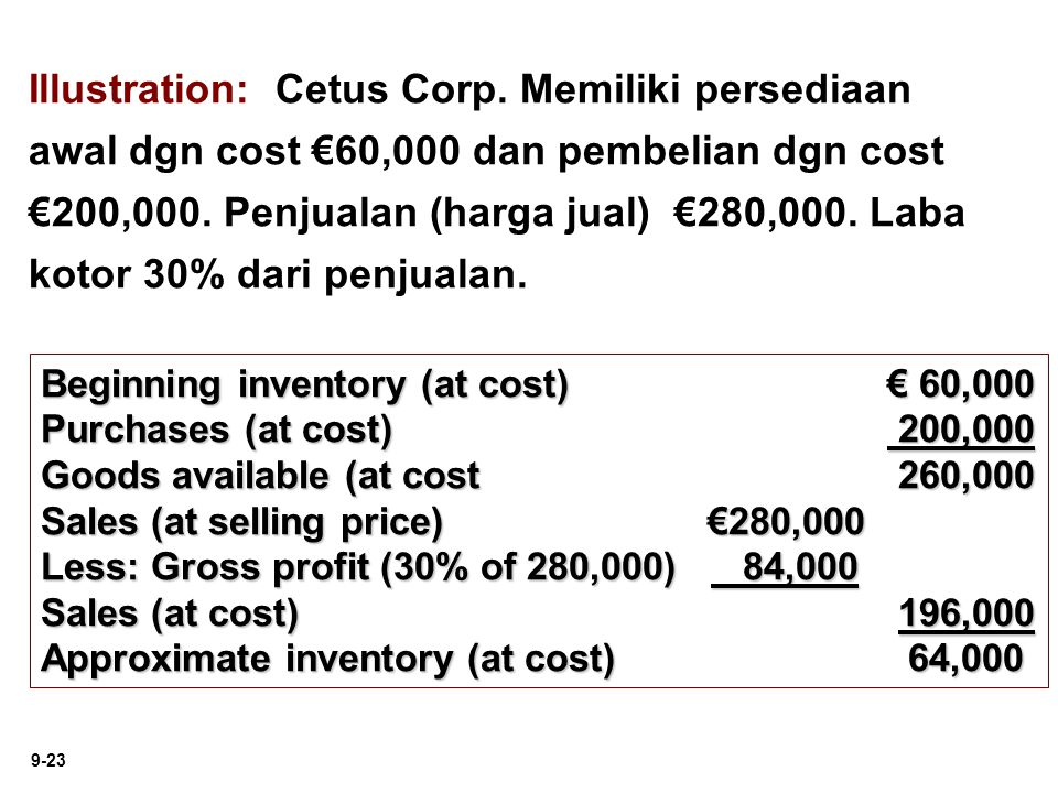 9-23 Illustration: Cetus Corp. Memiliki persediaan awal dgn cost €60,000 dan pembelian dgn cost €200,000. Penjualan (harga jual) €280,000. Laba kotor