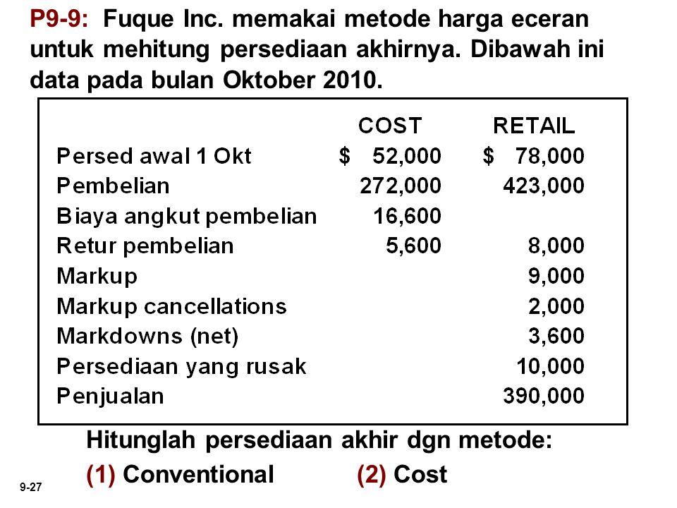 9-27 P9-9: Fuque Inc. memakai metode harga eceran untuk mehitung persediaan akhirnya. Dibawah ini data pada bulan Oktober 2010. Hitunglah persediaan a