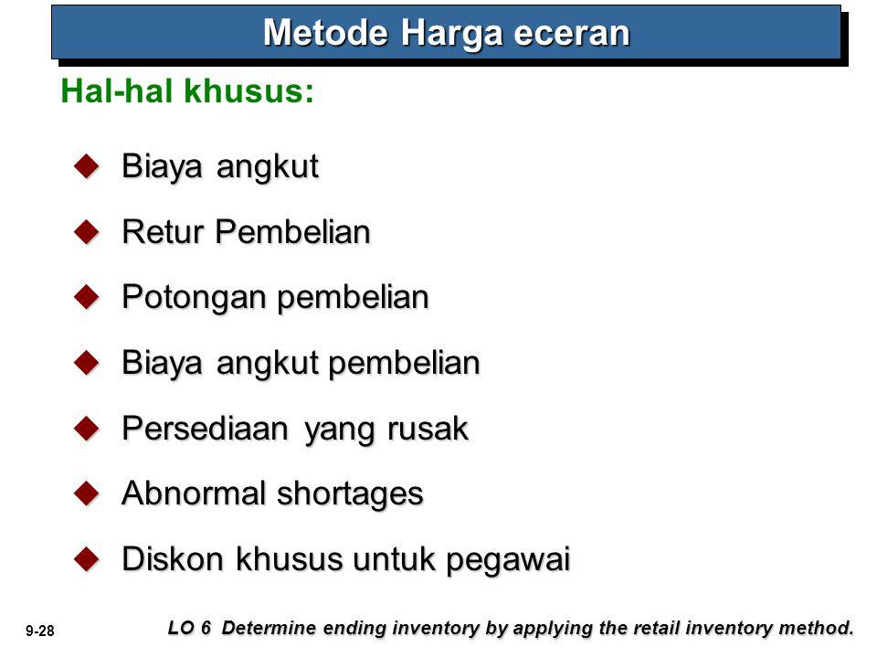 9-28 Hal-hal khusus: Metode Harga eceran LO 6 Determine ending inventory by applying the retail inventory method.  Biaya angkut  Retur Pembelian  P