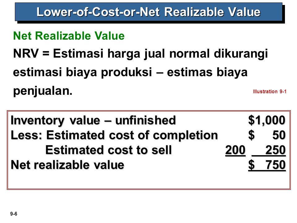 9-7 Illustration 9-4 Methods of Applying LCNRV Lower-of-Cost-or-Net Realizable Value Jenis makananCostNRVIndivGrupTotal Kiloan: Bayam80,000120,000 Wortel100,000110,000 Kcng panjang50,00040,000 Kalengan: Kapri90,00072,000 Campuran sayuran95,00092,000 Total