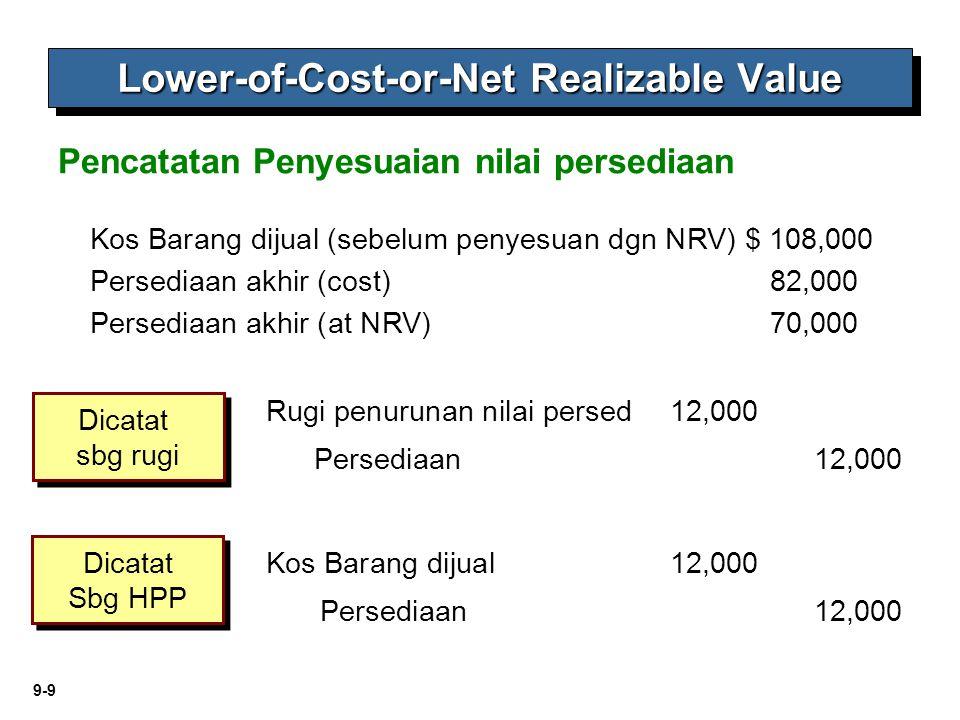 9-9 Kos Barang dijual (sebelum penyesuan dgn NRV) $ 108,000 Persediaan akhir (cost)82,000 Persediaan akhir (at NRV) 70,000 Persediaan 12,000 Rugi penu