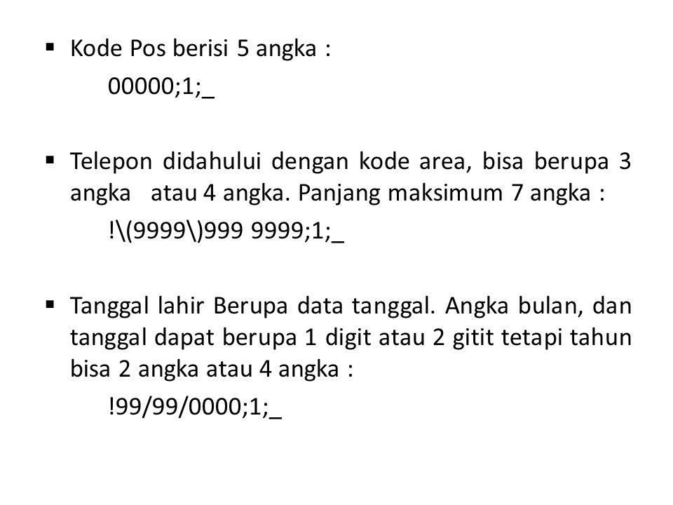  Kode Pos berisi 5 angka : 00000;1;_  Telepon didahului dengan kode area, bisa berupa 3 angka atau 4 angka. Panjang maksimum 7 angka : !\(9999\)999