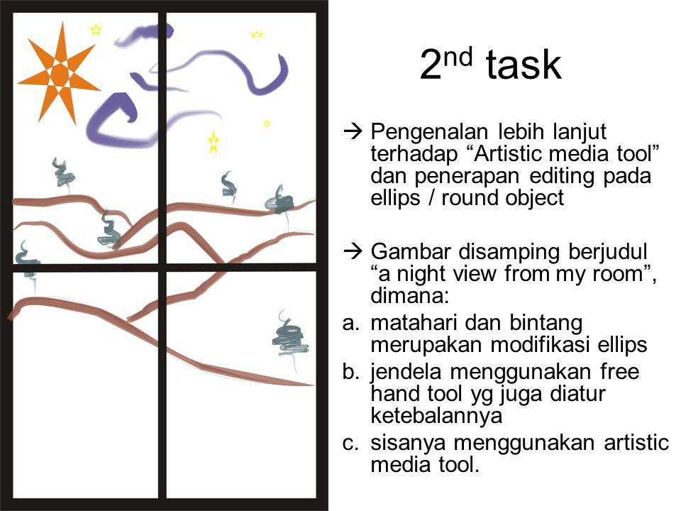 "2 nd task  Pengenalan lebih lanjut terhadap ""Artistic media tool"" dan penerapan editing pada ellips / round object  Gambar disamping berjudul ""a nig"