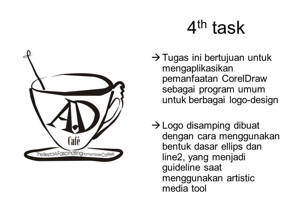 4 th task  Tugas ini bertujuan untuk mengaplikasikan pemanfaatan CorelDraw sebagai program umum untuk berbagai logo-design  Logo disamping dibuat de