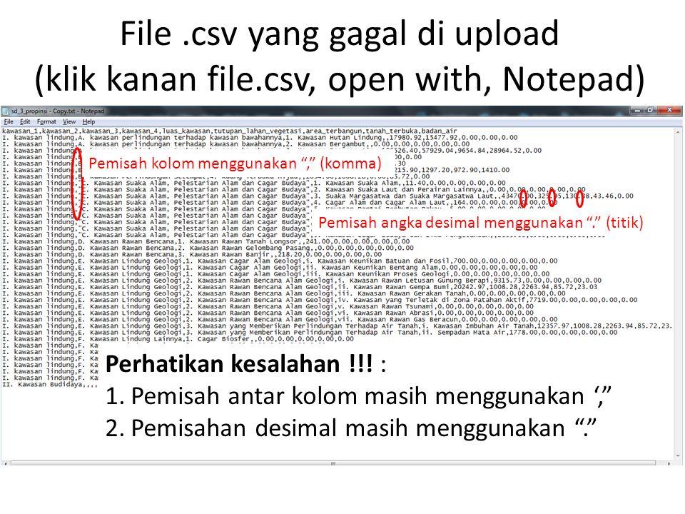 Standar File.csv Pemisah kolom menggunakan ; (titik koma atau semicolon) Pemisah angka desimal menggunakan , (koma).