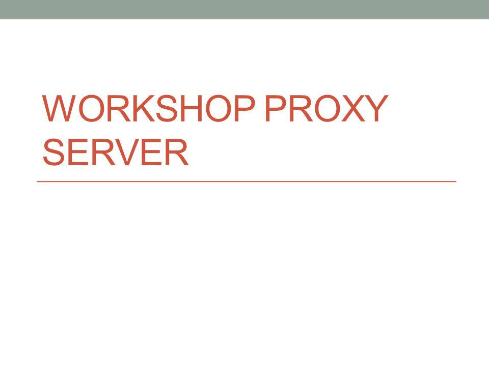 Workshop : Membuat Proxy Server Sederhana (Semua akses diperbolehkan) Edit file /etc/squid/squid.conf Isilah http_port dengan 8080 Gunakan parent yang ada pada saat ini cache_peer ip_parent parent port_parent port_parent_ICP Isilah cache_dir 500 megabytes cache_dir ufs /var/spool/squid 500 16 256 Isikan cache_access_log dan cache_log untuk memonitor URL cache_access_log /var/log/squid/access.log cache_log /var/log/squid/cache.log Isikan dns_server yang akan digunakan dns_nameservers ip_address
