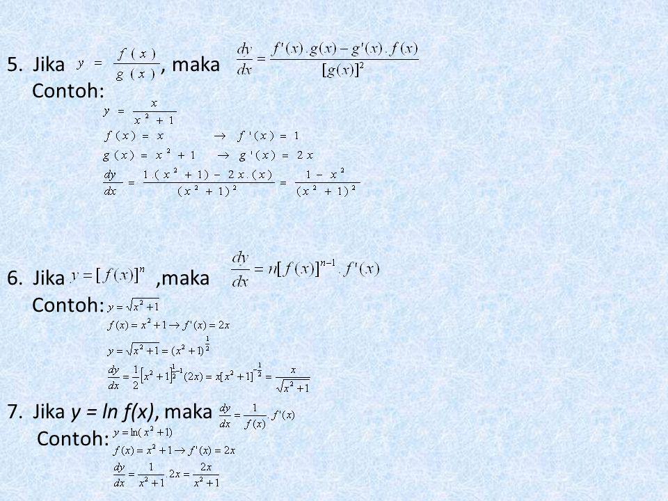 4. Jika y = f(x).g(x), maka Contoh: Dengan MATLAB