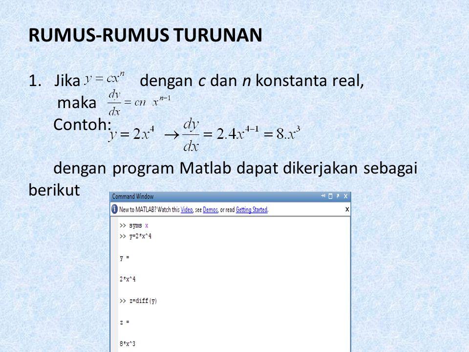 5. Setelah kita menuliskan syms x dan fungsi yang akan kita cari, maka kita harus mengetik Diff sebagai bahasa program untuk mendiferensialkan ekspres