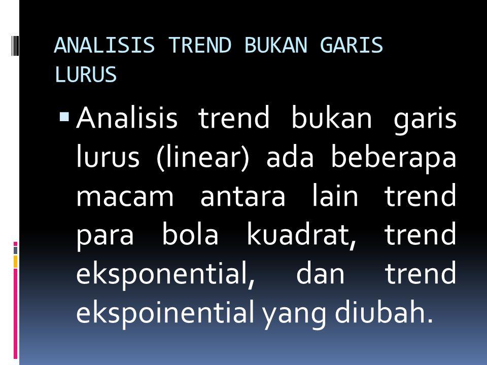 ANALISIS TREND BUKAN GARIS LURUS  Analisis trend bukan garis lurus (linear) ada beberapa macam antara lain trend para bola kuadrat, trend eksponentia