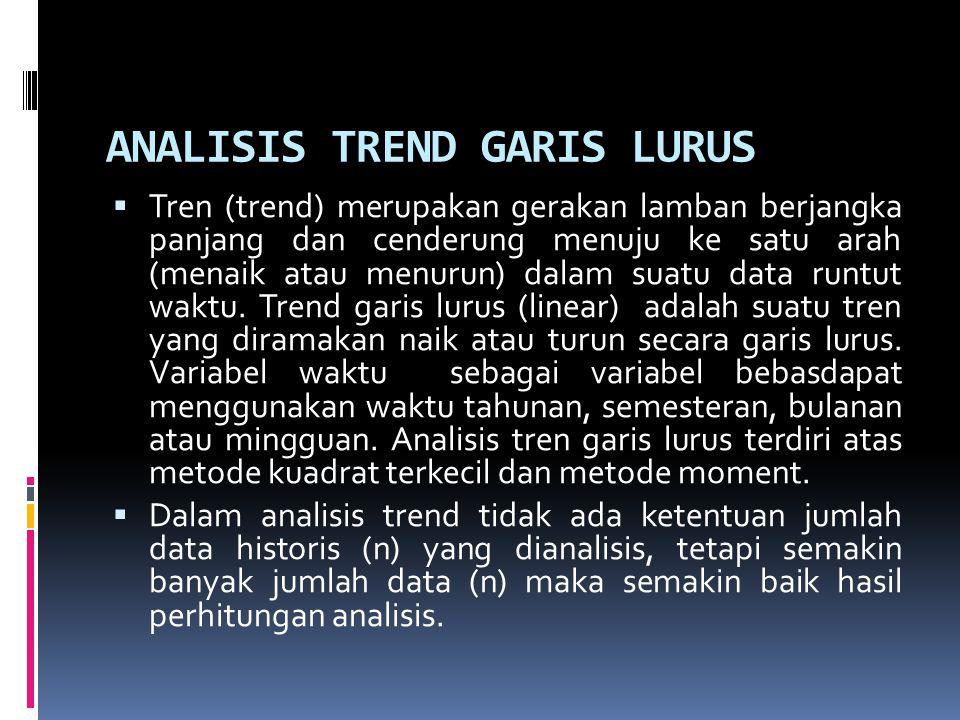 ANALISIS TREND GARIS LURUS  Tren (trend) merupakan gerakan lamban berjangka panjang dan cenderung menuju ke satu arah (menaik atau menurun) dalam sua