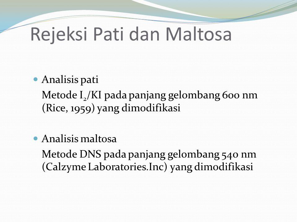Rejeksi Pati dan Maltosa Analisis pati Metode I 2 /KI pada panjang gelombang 600 nm (Rice, 1959) yang dimodifikasi Analisis maltosa Metode DNS pada pa
