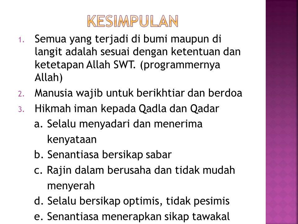 1.Sebutkan tiga (3) ciri-ciri orang yang beriman kepada qadla dan qadar .