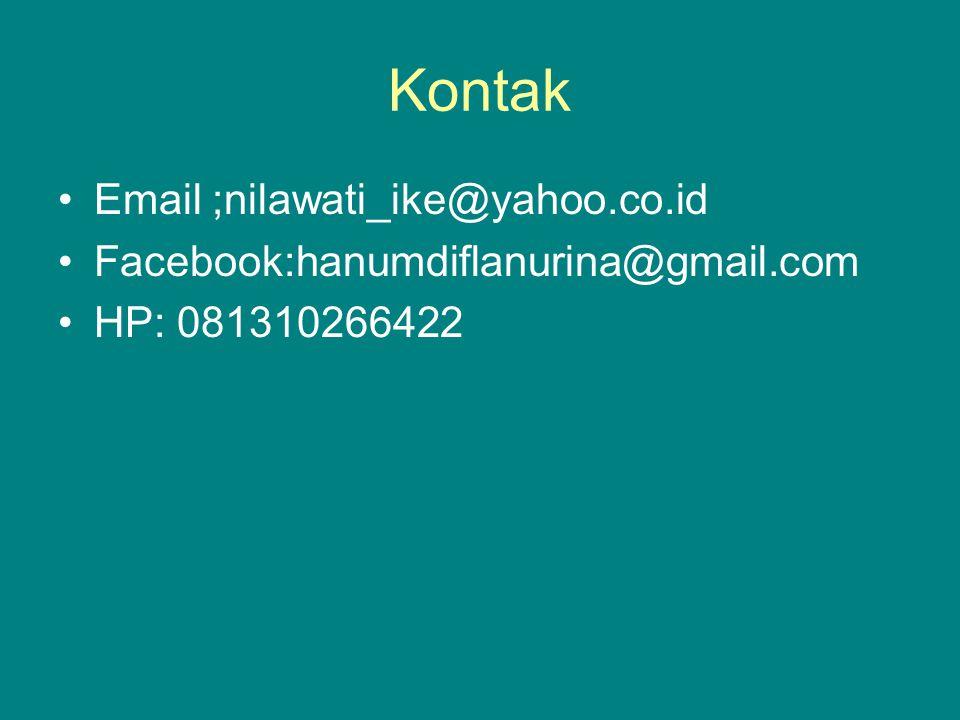 Kontak Email ;nilawati_ike@yahoo.co.id Facebook:hanumdiflanurina@gmail.com HP: 081310266422
