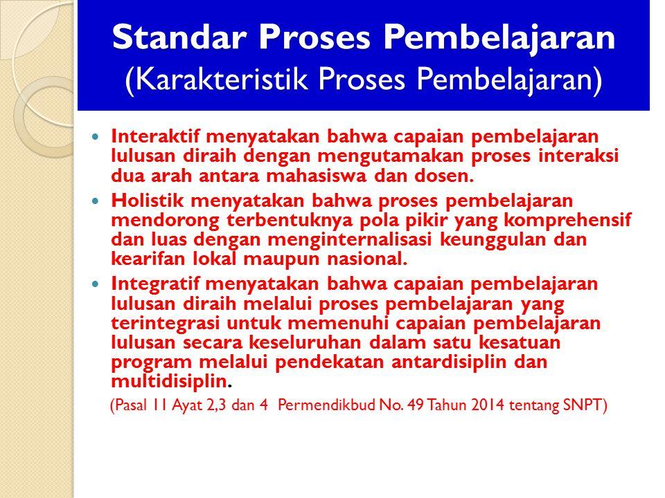 Standar Proses Pembelajaran (Karakteristik Proses Pembelajaran) Interaktif menyatakan bahwa capaian pembelajaran lulusan diraih dengan mengutamakan pr