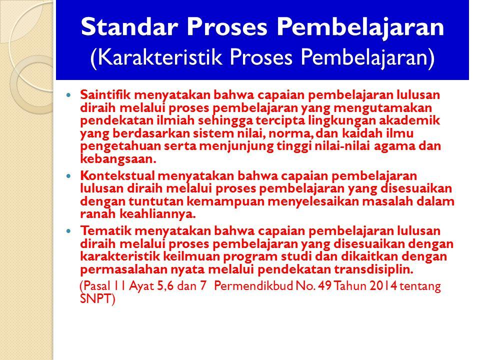 Standar Proses Pembelajaran (Karakteristik Proses Pembelajaran) Saintifik menyatakan bahwa capaian pembelajaran lulusan diraih melalui proses pembelaj
