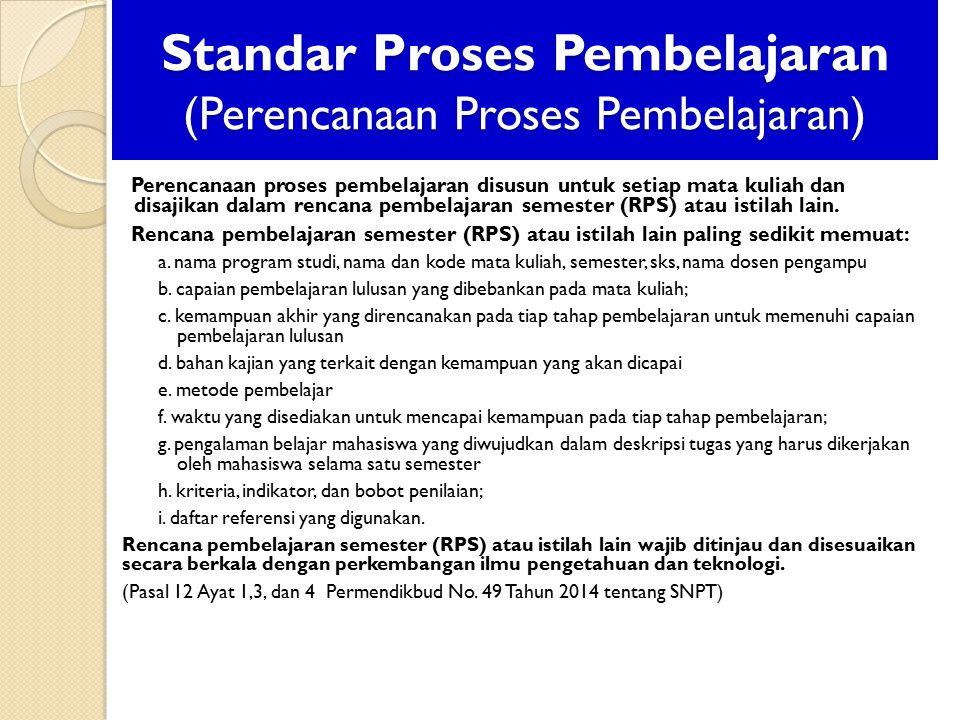 Standar Proses Pembelajaran (Perencanaan Proses Pembelajaran) Perencanaan proses pembelajaran disusun untuk setiap mata kuliah dan disajikan dalam rencana pembelajaran semester (RPS) atau istilah lain.