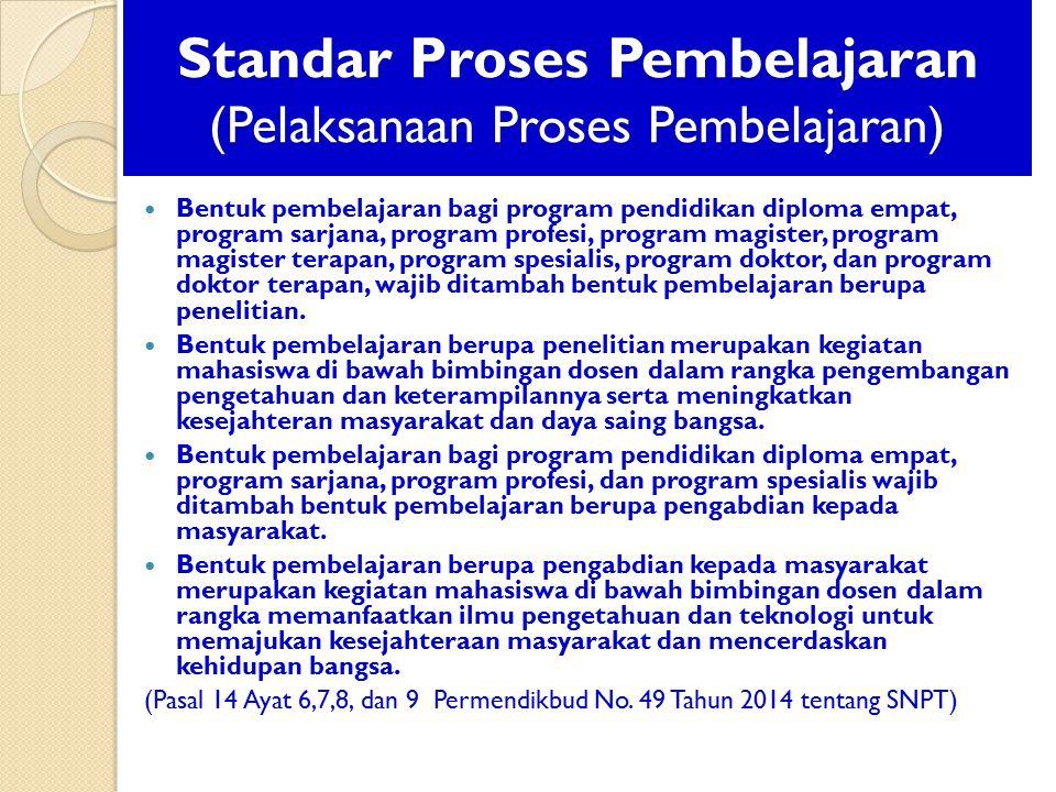 Standar Proses Pembelajaran (Pelaksanaan Proses Pembelajaran) Bentuk pembelajaran bagi program pendidikan diploma empat, program sarjana, program prof