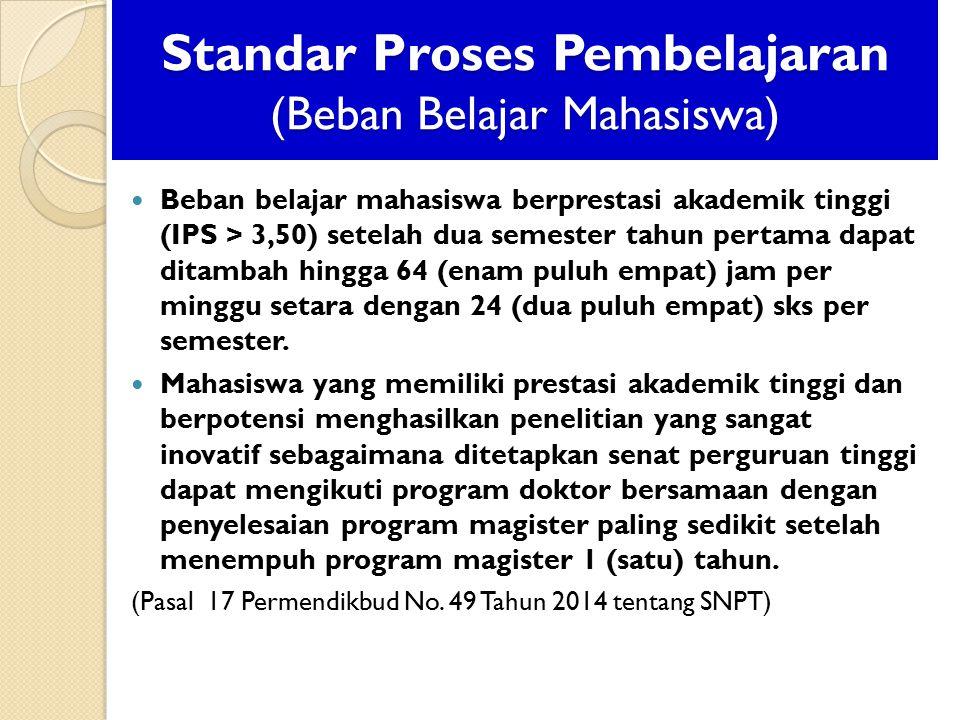 Standar Proses Pembelajaran (Beban Belajar Mahasiswa) Beban belajar mahasiswa berprestasi akademik tinggi (IPS > 3,50) setelah dua semester tahun pert