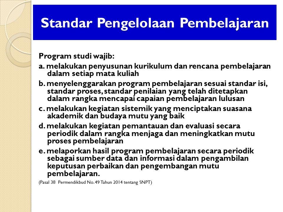 Standar Pengelolaan Pembelajaran Program studi wajib: a. melakukan penyusunan kurikulum dan rencana pembelajaran dalam setiap mata kuliah b. menyeleng