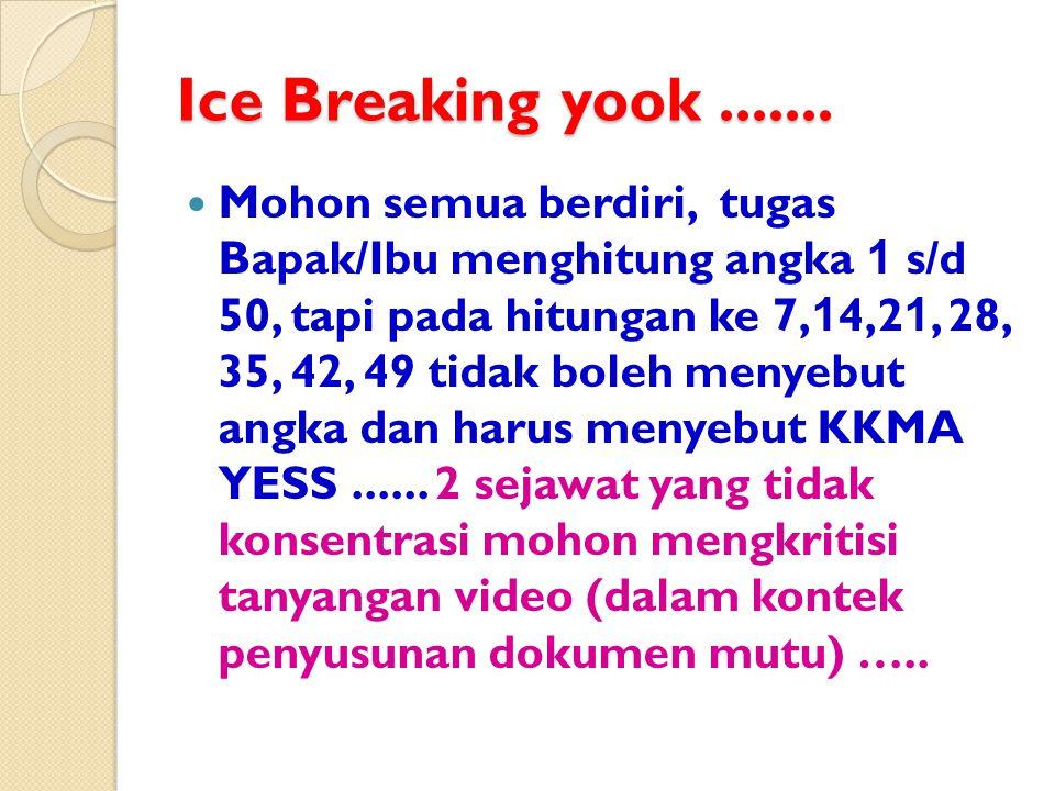 Ice Breaking yook....... Mohon semua berdiri, tugas Bapak/Ibu menghitung angka 1 s/d 50, tapi pada hitungan ke 7, 1 4,2 1, 28, 35, 42, 49 tidak boleh