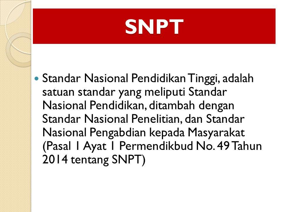 SNPT Standar Nasional Pendidikan Tinggi, adalah satuan standar yang meliputi Standar Nasional Pendidikan, ditambah dengan Standar Nasional Penelitian, dan Standar Nasional Pengabdian kepada Masyarakat (Pasal 1 Ayat 1 Permendikbud No.