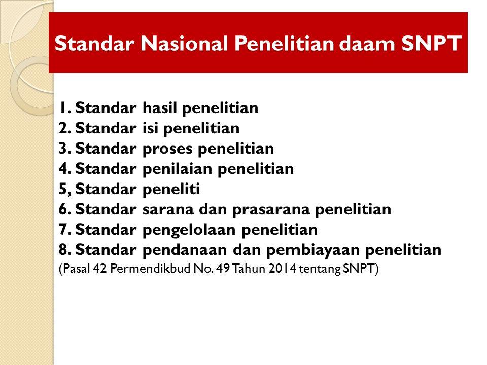 Standar Nasional Penelitian daam SNPT 1. Standar hasil penelitian 2. Standar isi penelitian 3. Standar proses penelitian 4. Standar penilaian peneliti