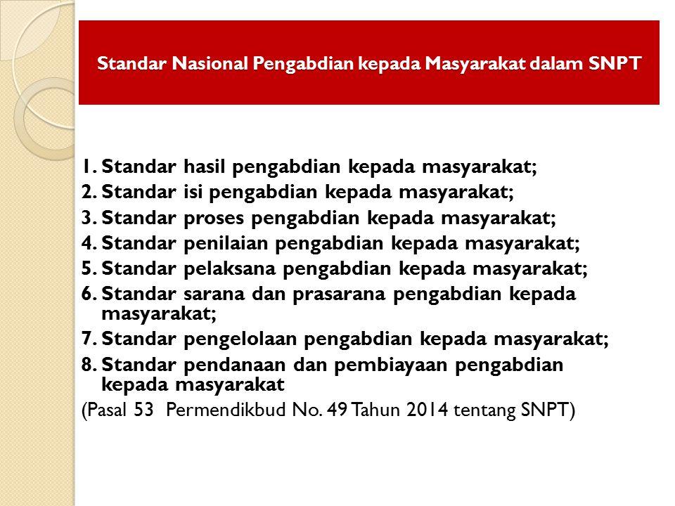 Standar Nasional Pengabdian kepada Masyarakat dalam SNPT 1. Standar hasil pengabdian kepada masyarakat; 2. Standar isi pengabdian kepada masyarakat; 3