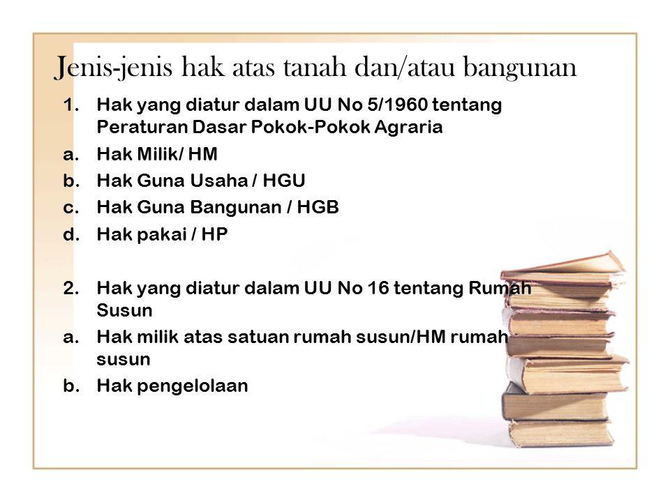Jenis-jenis hak atas tanah dan/atau bangunan 1.Hak yang diatur dalam UU No 5/1960 tentang Peraturan Dasar Pokok-Pokok Agraria a.Hak Milik/ HM b.Hak Gu