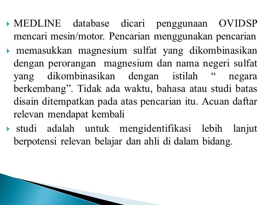  MEDLINE database dicari penggunaan OVIDSP mencari mesin/motor. Pencarian menggunakan pencarian  memasukkan magnesium sulfat yang dikombinasikan den